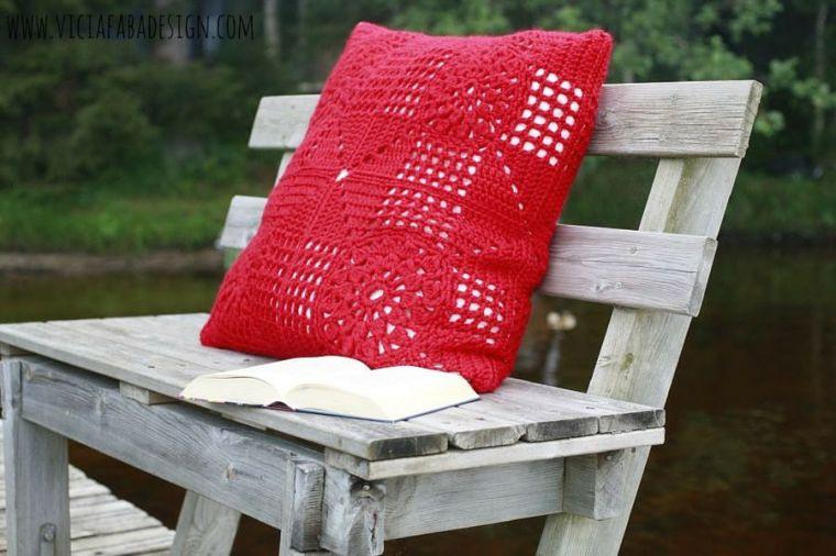 crochet red giant pillow